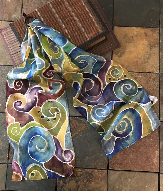 Hand dying silk scarves... - Valerie Dowdy Art