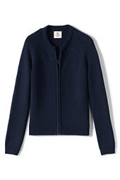 School Uniform Girls Performance Zip-front Cardigan-Classic Navy,L