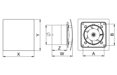 Air Extractor Bathroom Extractor Fan 150mm 6 With Timer Humidity Sensor Humidistat Web150h Home Furniture Diy Alpan Com Mk