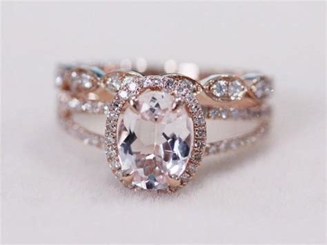 2 Rings Set   VS 6x8mm Pink Morganite Ring With Diamond