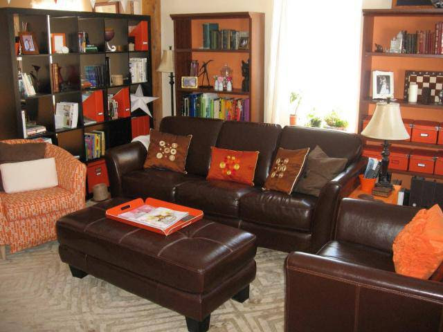House Decorating Ideas | Brown & Orange Living Room Color Schemes ...