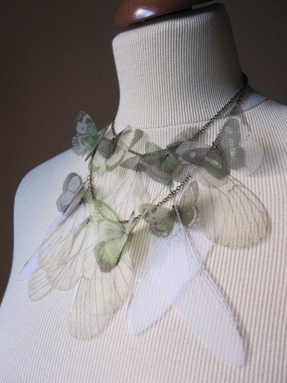 I Will Fly Away - Green Butterflies and Wings Silk Organza Double Statement Necklace - Made to Order