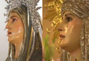 Semejanza de la Virgen del Mayor Dolor de la Hermandad de San Francisco, cuyo retallado se atribuía a Gómez del Castillo y la Virgen del Calvario de la Hermandad del Descendimiento, obra de León Ortega.