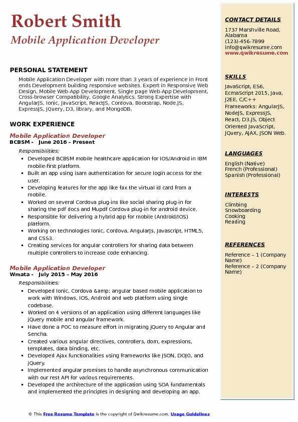 mobile application developer resume