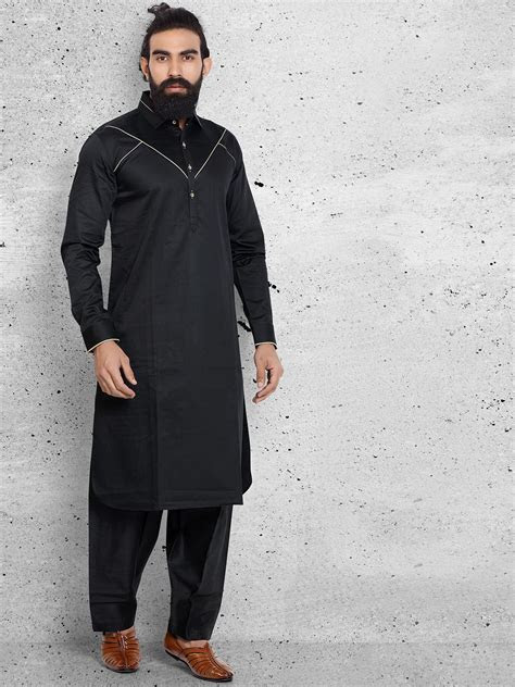 Solid Black Classy Festive Wear Pathani Suit   Buy Men