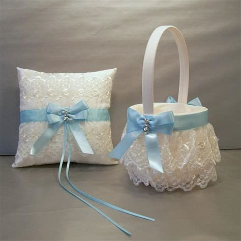 Light Blue Wedding Bridal Flower Girl Basket And Ring