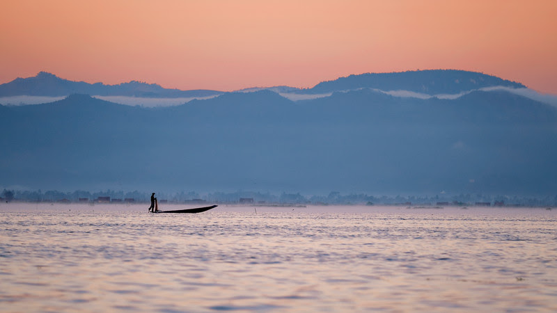 A misty morning on Inle lake