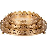 Amalfi Décor 3-Piece Round Metal Decorative Tray Set (Gold)