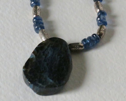 Kyanite Necklace Agate Focal Stone and Sterling by Smokeylady54