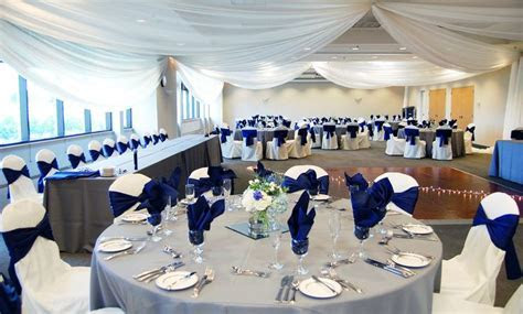Royal blue & gray decor at a wedding reception in the