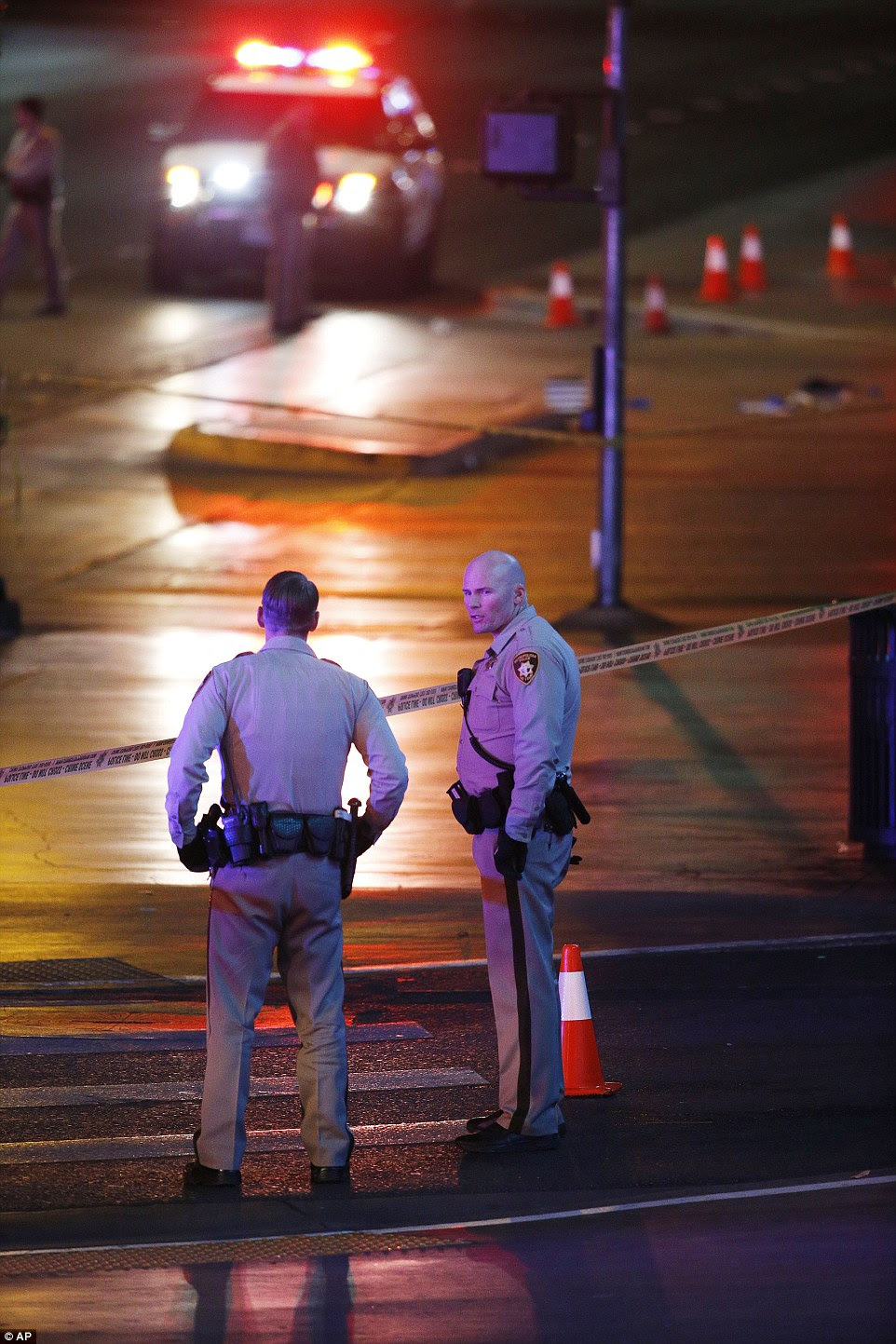 Zimmerman said that the suspect drove onto the sidewalk once hitting pedestrians, then moments later drove onto the sidewalk again at a different spot of Las Vegas Boulevard, striking more people
