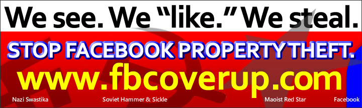 BUMPER STICKER: Stop Facebook Property Theft. www.fbcoverup.com