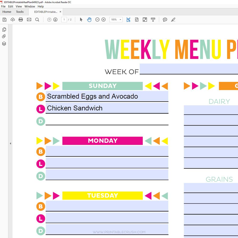Editable Meal Plan Printable - Printable Crush