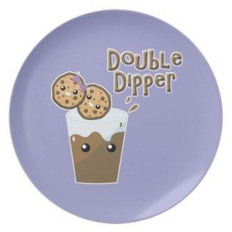 double dipper kawaii cookies and chocolate milk plate