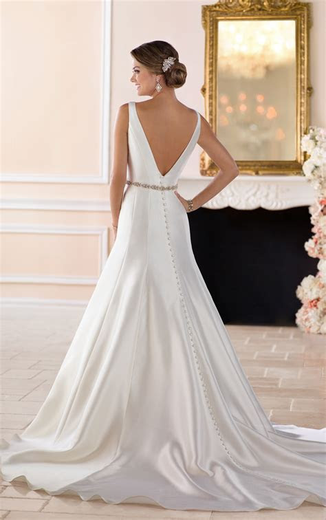 Boat Neck Wedding Dress with Deep V Back   Stella York