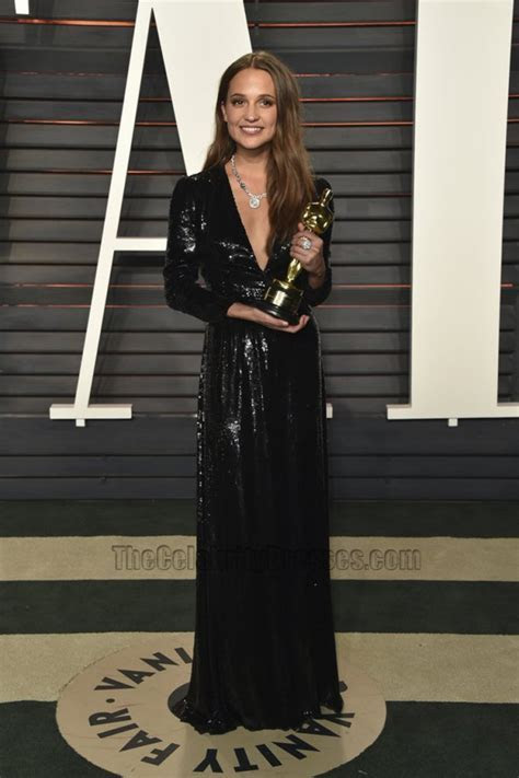 Alicia Vikander Black Long Sleeve Sequins Evening Dress