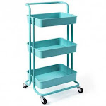 3-Tier Utility Cart Storage Rolling Cart with Casters-Blue - Color: Blue