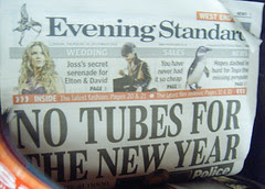 No Tubes on New Year's Eve - Evening Standard Front Page