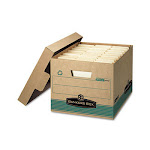 Bankers Box 12770 Stor/File Extra Strength Storage Box- Letter/Legal- Kraft/Green- 12/Carton