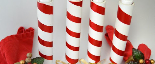 DIY PVC Candy Cane Candle Jackets - Latest Handmade