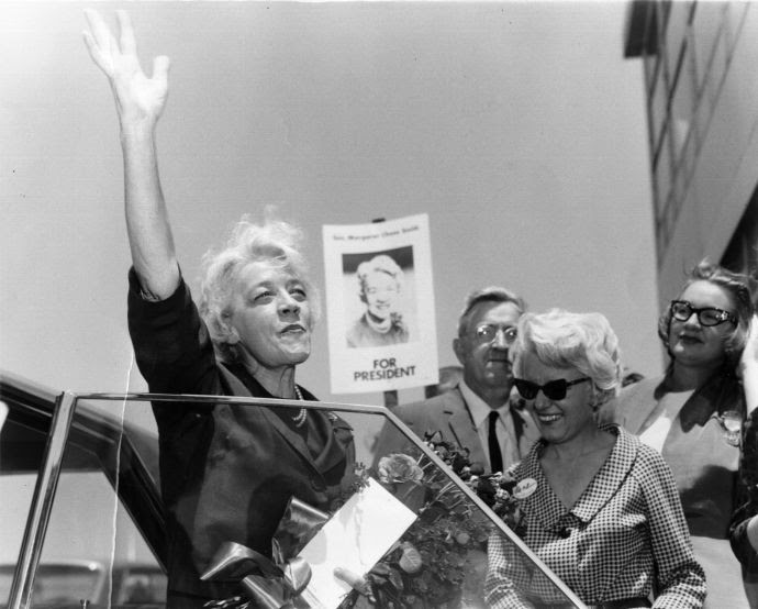 Senator Margaret Chase Smith arrives at the Republican National Convention, in Daly City, California, in 1964. The very traits that made Smith an attractive candidate in 1964 foreclosed her chance to prevail in the race.