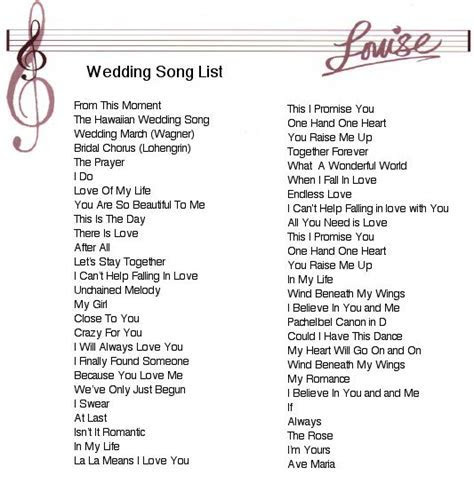 Wedding Ceremony Songs   Wedding Music Song List   Wedding