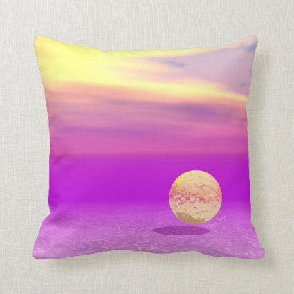 Adrift, Abstract Gold Violet Ocean Pillow