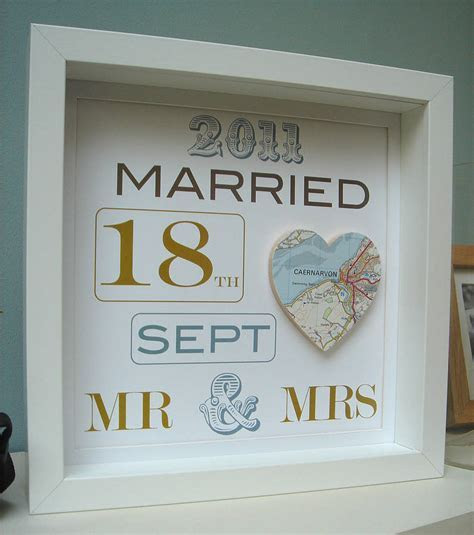 personalised mr and mrs map picture  wedding gift by