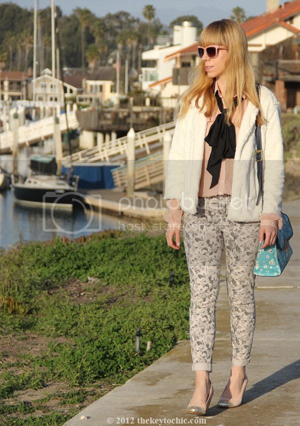 Jason Wu for Target blush dot blouse, Jason Wu for Target floral flap handbag, J Brand floral jeans in sugar cane, Topshop Jamaica glitter pumps, southern California street style, Los Angeles fashion blogger