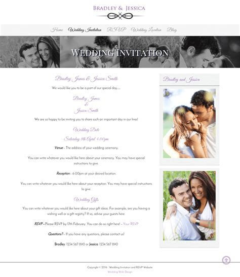 Wedding Invitation and Wedding Gallery Websites   WDA Designs