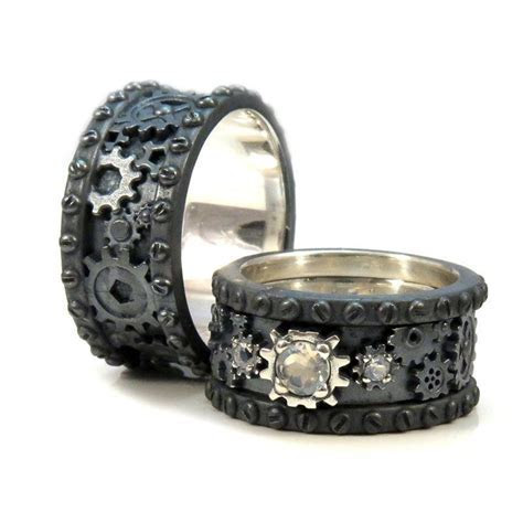 His and Hers Black Silver Gear Rings   Steampunk Wedding