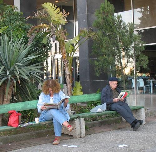 reading outside the book fair