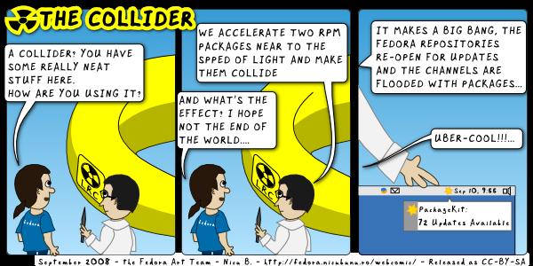 [fedora webcomic: collider]