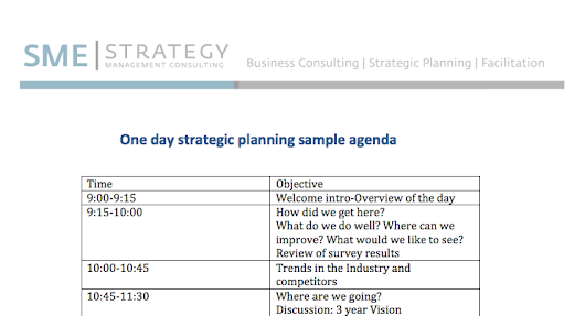 One day strategic planning meeting sample agenda.
