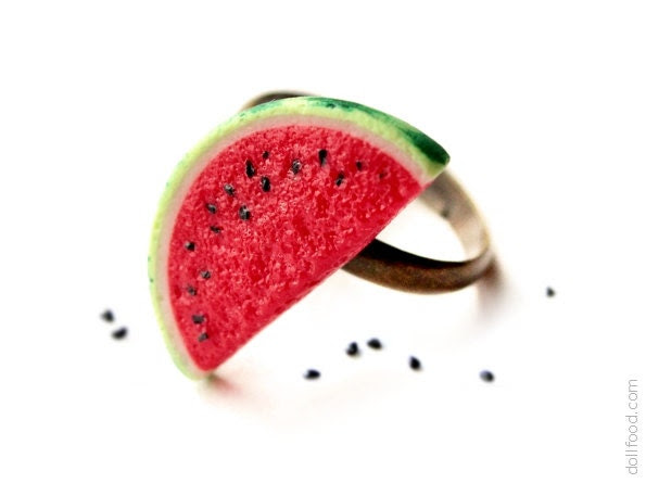 Watermelon Ring - Food Jewelry - dollfoodminiatures