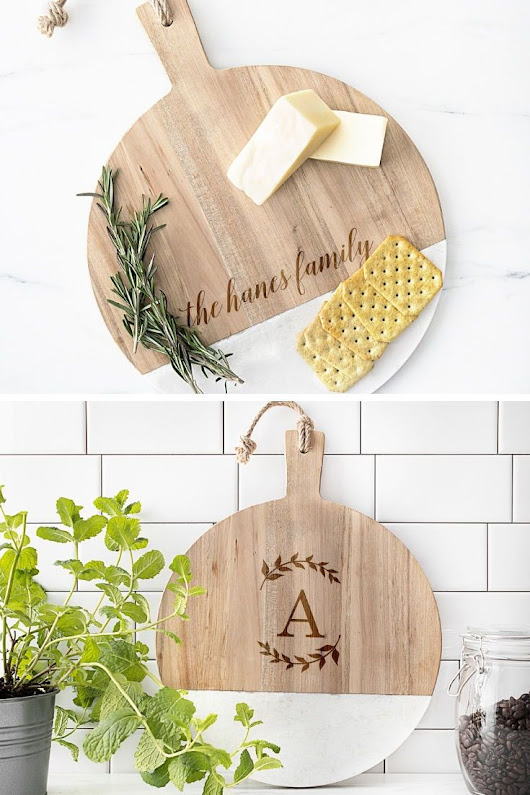 Personalized Round Marble and Acacia Serving Board | Christmas Gift Ideas | Pinterest