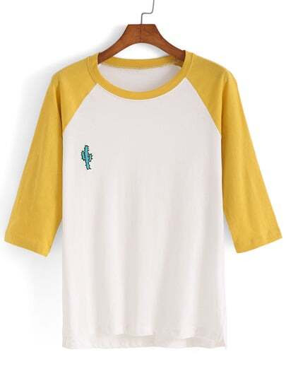 Dip Hem Color-block Embroidered T-shirt pictures
