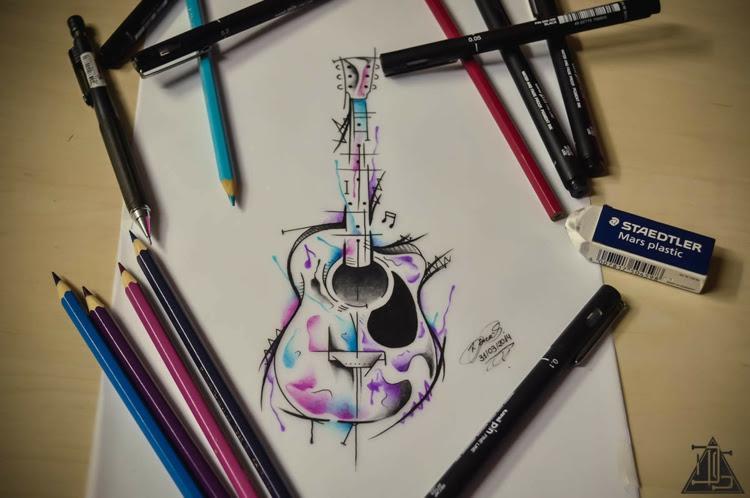 dessin tatouage aquarelle guitare originale