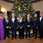 President Barack Obama and First Lady Michelle Obama with Kennedy Center Honorees in the Blue Room of the White House, Dec. 6, 2009. Bruce and Barack on the right.