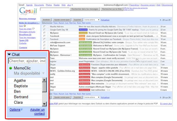 L'outil GTalk intégré à Gmail