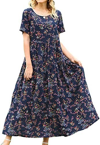 YESNO Women Casual Loose Bohemian Floral Dress with Pockets Short Sleeve Long Maxi Summer Beach Swing Dress EJF