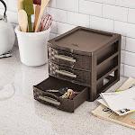 Sterilite Small Weave 3 Drawer Storage Unit Espresso 8.625inX7.25inX6.875in