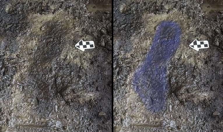 Izquierda: una de las huellas encontradas. Derecha: huella resaltada para una mejor apreciación.