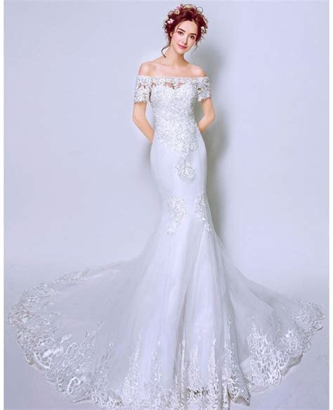 Fit And Flare Lace Train Wedding Dress With Off Shoulder