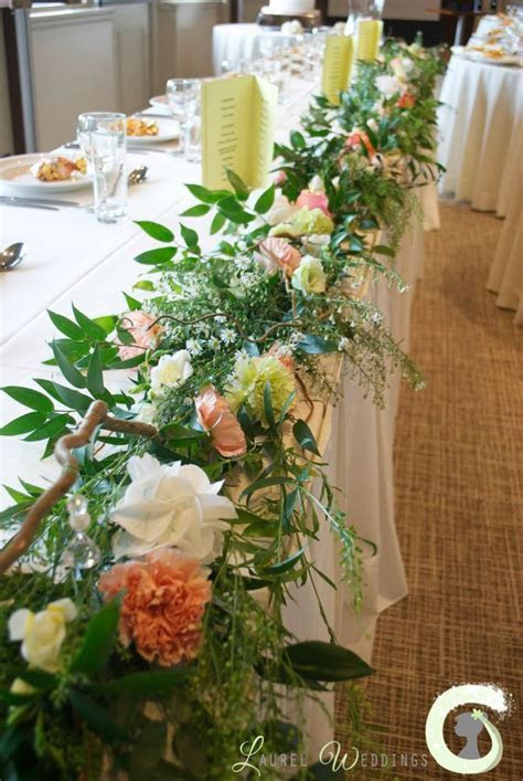 Top table garland with twisted hazel branches, mixed