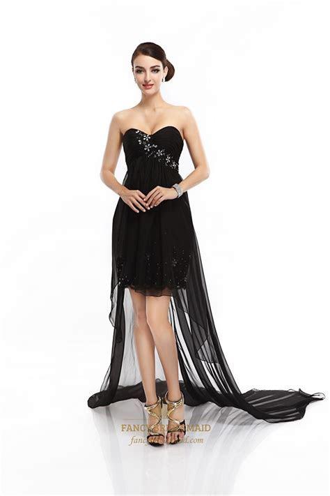 Black Strapless Beaded Short Dress With Floor Length Sheer