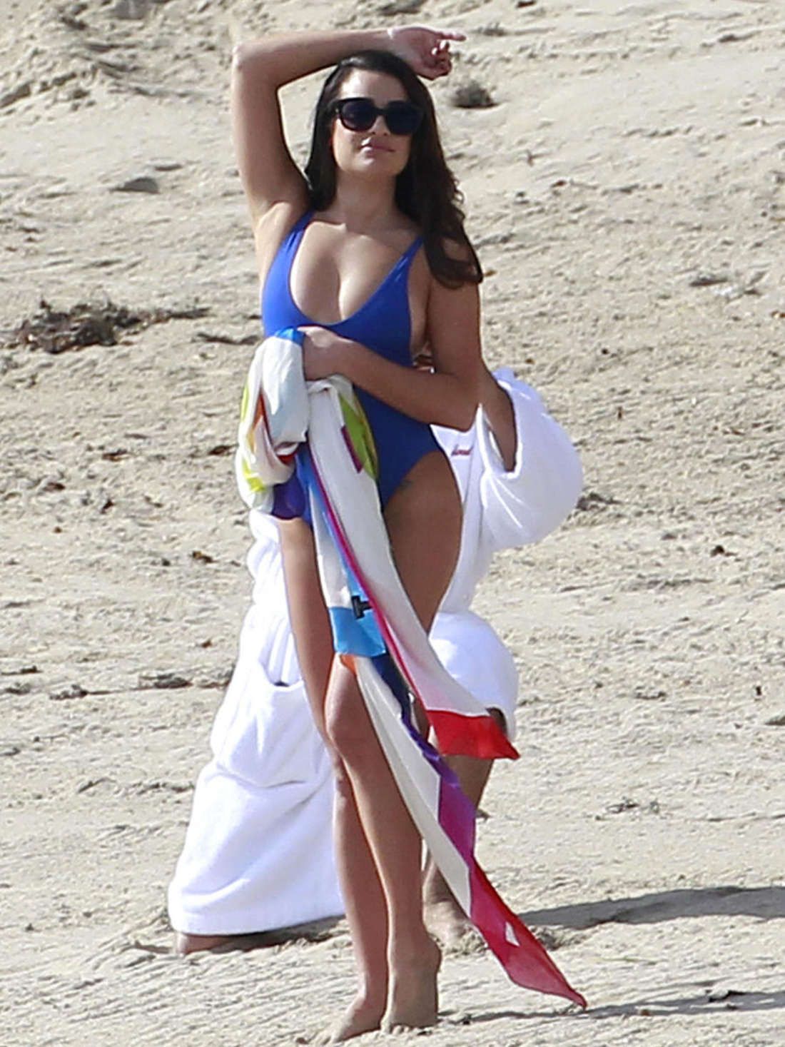 Lea Michele in Blue Swimsuit on the set of 'Scream Queens' in Malibu