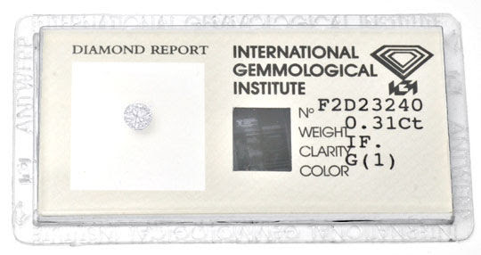 Foto 1, Diamant IGI 0,31ct Lupenrein Top Wesselton VG/VG Juwel!, D5637