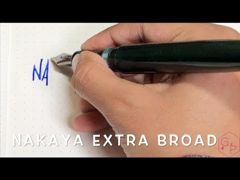 Nakaya Long Cigar Blue Dragon Extra Broad Nib Writing