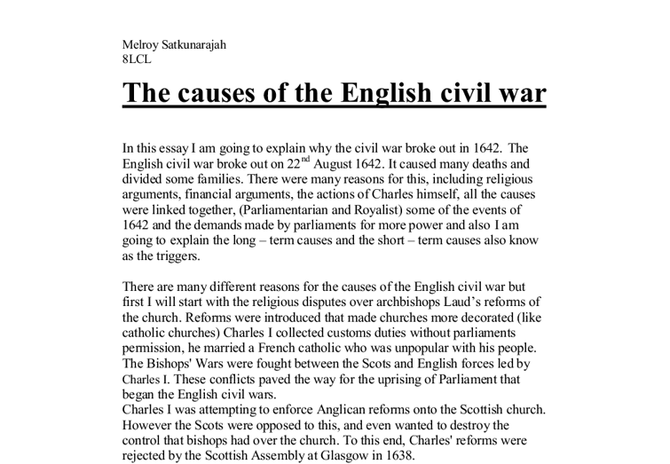 The war essay causes of english civil good